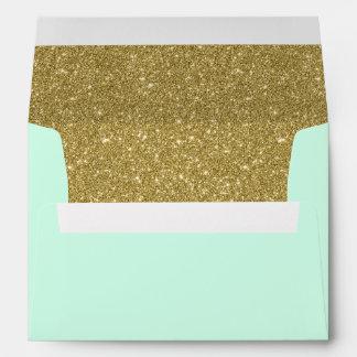 Modern Mint Faux Gold Glitter Return Address Envelope