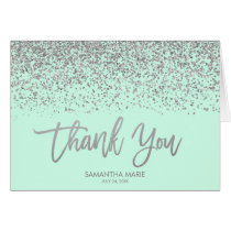 Modern Mint Faux Silver Glitter Thank You Card