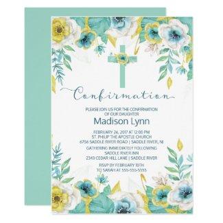 Modern Mint Floral Cross Confirmation Invitation