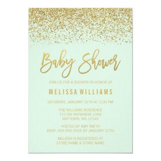 Modern Mint Gold Faux Glitter Baby Shower Card