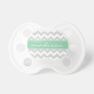 Modern Mint Green and Gray Chevron Custom Monogram Pacifier