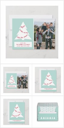 Modern Mint Green and White Christmas Tree Pattern