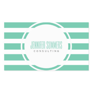 Modern Mint-Green And White Stripes Pattern Business Cards