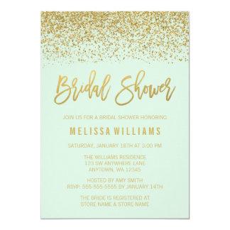 Modern Mint Green Faux Gold Glitter Bridal Shower Card
