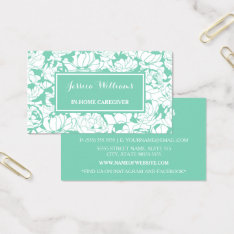 Modern Mint Green Floral Girly Nurse Caregiver Business Card at Zazzle