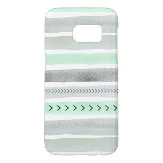 Modern Mint Green Gray Watercolor Stripes Design Samsung Galaxy S7 Case