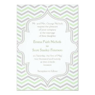 Modern mint green, grey chevron zigzag wedding card