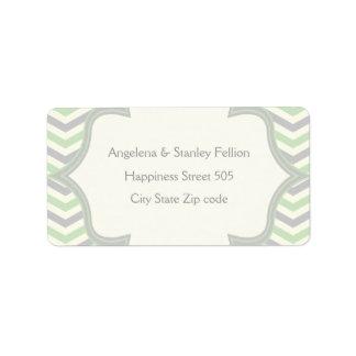 Modern mint green, grey chevron zigzag wedding custom address label