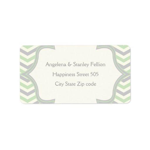 Modern mint green, grey chevron zigzag wedding address label