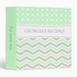 Modern mint green grey, white chevron & polka dot vinyl binder