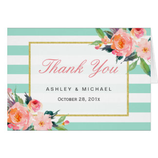 Modern Mint Green Stripes Elegant Floral Thank You Card