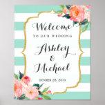 Modern Mint Green Stripes Floral Deco Wedding Sign Poster