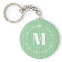 Modern mint green stripes pattern round monogram keychain