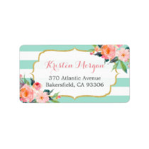 Modern Mint Green Stripes Watercolor Pink Floral Label