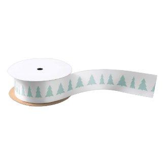 Modern Mint Green Trees Geometric Pattern Satin Ribbon