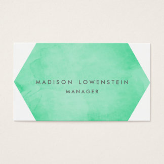 Modern Mint Green Watercolor Bright Chic Business Card