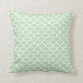 Modern Mint Green White Moroccan Tile Pattern Throw Pillow