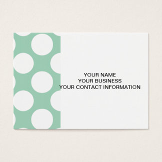 Modern Mint Green White Polka Dots Pattern Business Card
