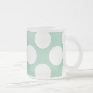 Modern Mint Green White Polka Dots Pattern Frosted Glass Coffee Mug