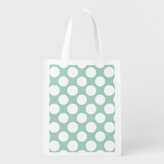 Modern Mint Green White Polka Dots Pattern Grocery Bag