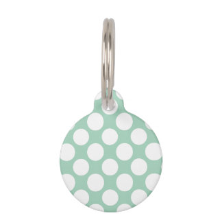 Modern Mint Green White Polka Dots Pattern Pet Tag