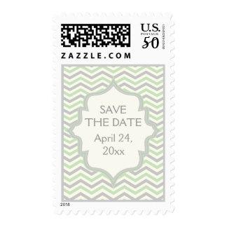 Modern mint, grey chevron wedding Save the Date Postage