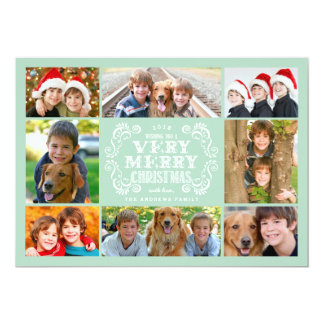 Modern Mint & Swirls Collage Holidays Photo Card
