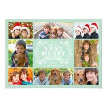 Modern Mint & Swirls Collage Holidays Photo Card Custom Invite