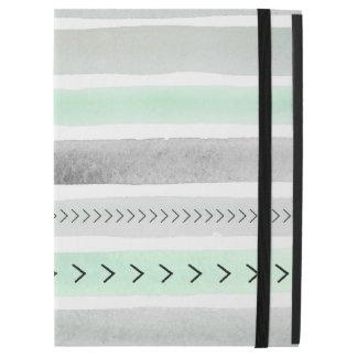 "Modern Mint White Grey Watercolour Striped Pattern iPad Pro 12.9"" Case"