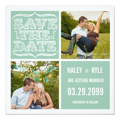 Modern Mint & White Save the Date Photo Cards
