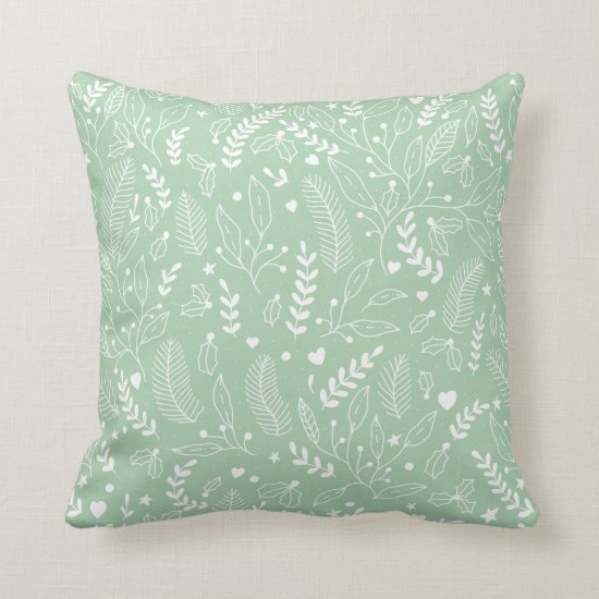 Modern Mint with White Holly, Berries, Pine Branch Throw Pillow