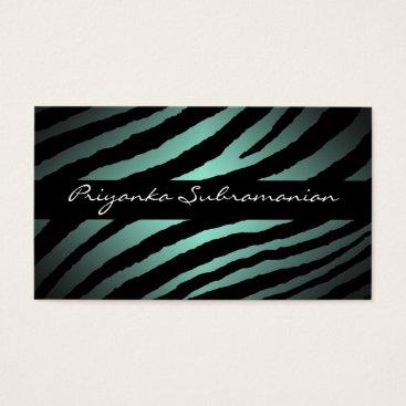 Professional Business Modern Mint Zebra Professional Business Cards