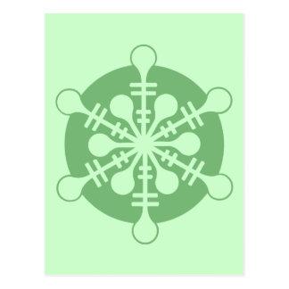 Modern Minty Green Christmas Snowflake Postcard
