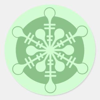 Modern Minty Green Christmas Snowflake Classic Round Sticker