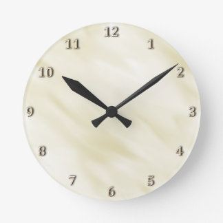 Modern Misty Ivory Pastel Bath Set Round Clock