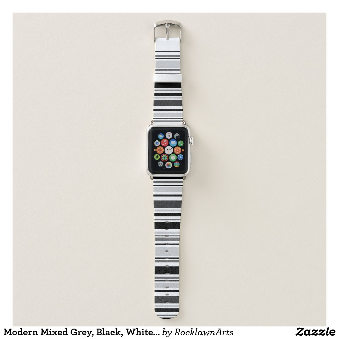 Modern Mixed Grey, Black, White Stripes Apple Watch Band