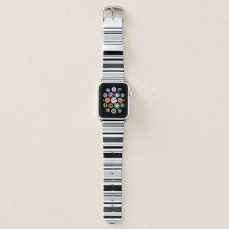 Modern Mixed Grey, Black, White Stripes Apple Watch Band