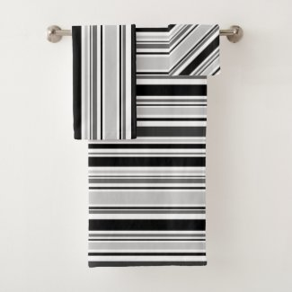 Modern Mixed Grey, Black, White Stripes Towel Set