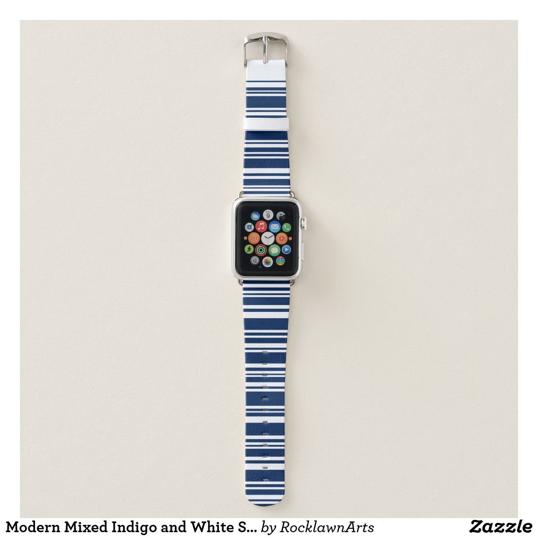 Modern Mixed Indigo and White Stripes Apple Watch Band