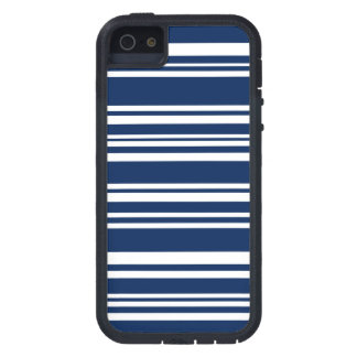 Modern Mixed Navy and White Stripes Case For iPhone SE/5/5s