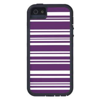 Modern Mixed Purple and White Stripes iPhone SE/5/5s Case