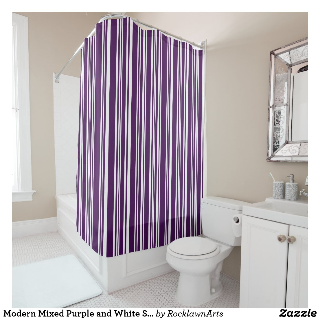 Modern Mixed Purple and White Stripes Shower Curtain