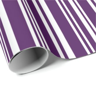 Modern Mixed Purple and White Stripes Wrapping Paper