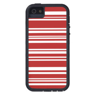 Modern Mixed Red and White Stripes Case For iPhone SE/5/5s