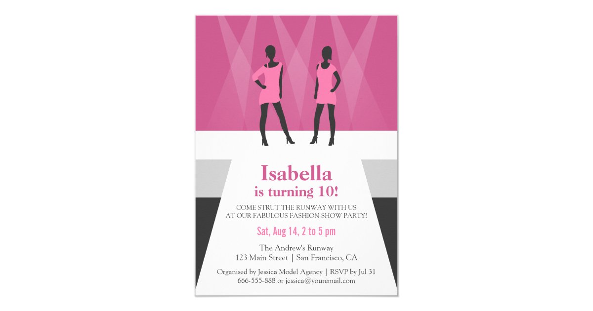 Modern Models Runway Fashion Show Birthday Party Card | Zazzle.com