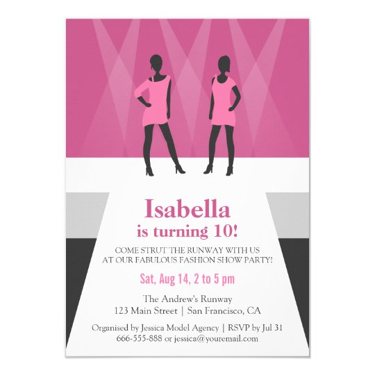 Modern Models Runway Fashion Show Birthday Party Invitation Zazzle Com