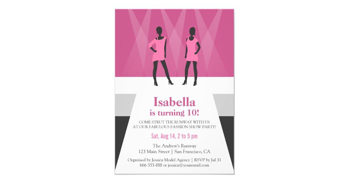 Modern Models Runway Fashion Show Birthday Party Invitation | Zazzle.com