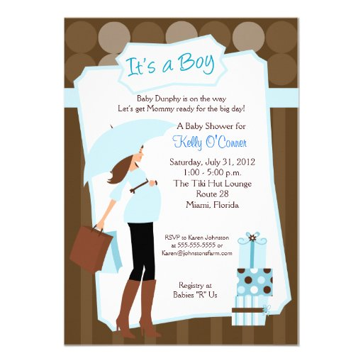 modern mom baby shower invitation baby boy 5 x 7 invitation ca
