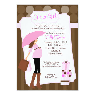Modern Mom Baby Shower Invitation - Baby Girl!