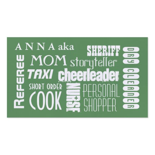 Modern Mom calling card green Business Cards